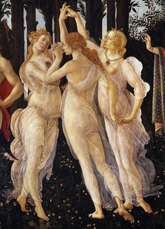 The Three Graces from Greek mythology as painted in Boticelli's Primavera. It was the name Rory and Guy gave to the king's favored young courtiers.