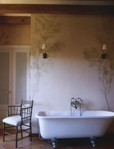 Beautiful Bathroom & Wall Treatment.  NEUTRAL TERRITORY | Mark D. Sikes: Chic People, Glamorous Places, Stylish Things
