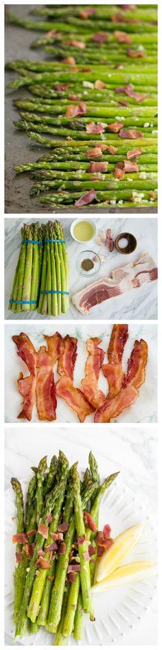 Easy Garlicky Roasted Asparagus with Bacon @NatashasKitchen