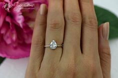 1 carat 14k White Gold Ring Pear Cut Solitaire by TigerGemstones
