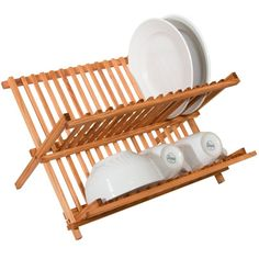 Sweet Home Collection Two Level Folding Kitchen Counter Top Bamboo Dish Rack & Reviews | Wayfair
