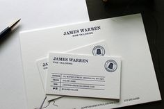 Letterpress business cards and stationery for a men's tailor, printed in navy blue. A mix modern of classic and modern with a cool thimble logo.