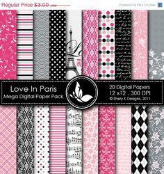 40% off - Love In Paris Mega Paper Pack - 20 Printable Digital papers - 12 x12 - 300 DPI