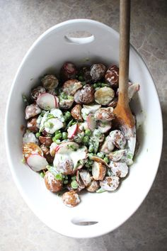 // Roasted Potato Salad with Créme Fraîche