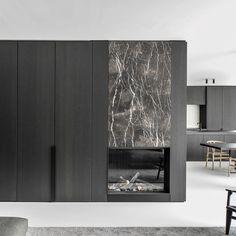 Hotel Lobby Design, Home Room Design, Living Room Designs, House Design, Modern Fireplace, Fireplace Design, Fireplace Ideas, Home Interior, Interior Architecture