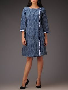 Buy Indigo Stripe Angrakha Boat Neck Block Printed Khadi Dress Cotton Apparel Tops & Dresses Romancing Contemporary Casual Wear in Online at Jaypore.com