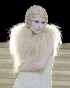 Great Gatsby! Sharon Blain's quintessential Roaring 20s flapper w/skull cap & fur made of hair. Love!