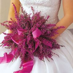 Hot Pink Ribbon with Heather Wedding Bouquet