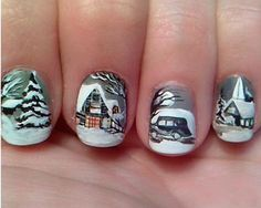 Dy lm nails cch ct mng chn mng tay httpdaotaonail vintage looking winter nail art design a wonderful and cozy looking neighborhood is painted on the nails complete with houses and cars that perfectly prinsesfo Gallery