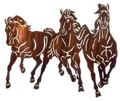 3 Horse Stampede Laser Cut Metal Wall Art