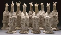 Nine Chinese Pottery Zodiac Figures, Tang Dynasty-christies.    生肖俑