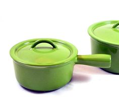 Descoware Enamel Cast Iron Sauce Pan. Love these. I have them in Mustered!!
