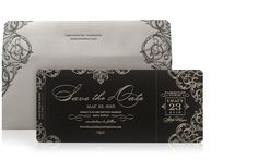 Luxury Ornate Boarding Pass Ticket Save The Date