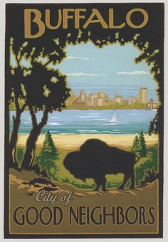 Great Buffalo Poster!  Think I saw something with this design in the curio cabinets at the Historical Society...
