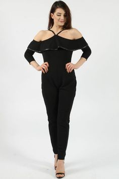 Cold Shoulder Frill Black Jumpsuit