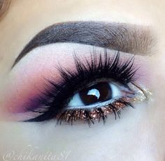 Pink and purple structured eye makeup with bronze glitter liner #eyes #eye #makeup #eyeshadow #bright #glitter  #dramatic