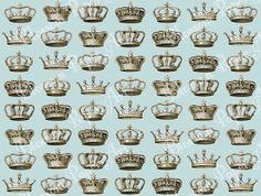 Vintage Crowns - Light Blue Digital Scrapbooking Paper - Printables - 12x12 inches - 300 dpi