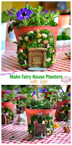 Make this Adorable and enchanting DIY fairy house for your fairy garden. A perfect craft to make with the kids this summer! Fairy House Crafts, Fairy Garden Houses, Fairy Gardens, Fairies Garden, Garden Shed Diy, Garden Ideas, Preschool Garden, Preschool Crafts, Backyard Ideas For Small Yards