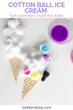 This Cotton Ball Ice Cream craft is so fun, easy to prep and PERFECT FOR SUMMER! Create a unique painting experience for your little ones using droppers and cotton balls! You'll be surprised how quick it is to prep too! Ice Cream Crafts, Ice Cream Art, Ice Cream Theme, Summer Crafts For Toddlers, Craft Activities For Kids, Toddler Crafts, Kids Fun, Summer Activities, Family Activities