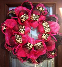 Items similar to Hot Pink and Cheatah Deco Mesh Wreath Thanksgiving Wreaths, Christmas Wreaths, Christmas Decorations, Valentine Day Wreaths, Valentines Diy, Candy Corn Wreath, Deco Mesh Wreaths, Diy For Girls, Baby Crafts