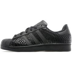 adidas Originals Superstar Snake Women's ($100) ❤ liked on Polyvore featuring shoes, black, black shoes, polish shoes, python shoes, snake skin shoes and snake print shoes
