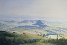 'South of Boonah SE Qld' by Mark Lawrence. Pastel painting of part of the Scenic Rim of mountains in SE Qld. Mt Sugarloaf is the main peak visible which is South of Boonah. Painting is 33cm wide and 22cm high