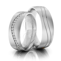 Satin Flat His Hers Wedding Bands 0.48 Carat Round Diamond 6.5mm 02268