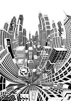 Fine line black ink hand drawn perspective cityscape illustration Sketchbook Architecture, Architecture Design, Stylo Art, City Drawing, Perspective Drawing, Poster Designs, Illustrations Posters, Art Lessons, Design Art