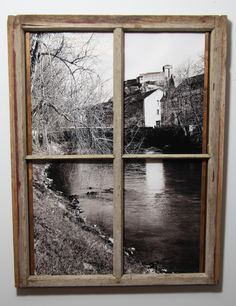 This is a photo that I took in France that I thought would look great as a window scene so I used an old window frame that I found in my grandmas attic and just took out the glass and mounted the photo behind it!