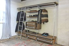 Davis Oak Stained Reclaimed Scaffolding Board and Galvanised Pipe Industrial Open Wardrobe/Dressing Room Shelves, Drawers and Hanging Rails