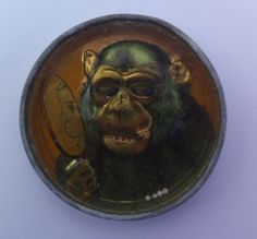 EARLY VINTAGE GERMAN DEXTERITY PUZZLE     -     MONKEY WITH MIRROR