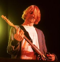 Kurt Cobain (during a charity concert for victims of rape in Bosnia) at Cow Palace, Daly City, Ca, US. April 9, 1993.