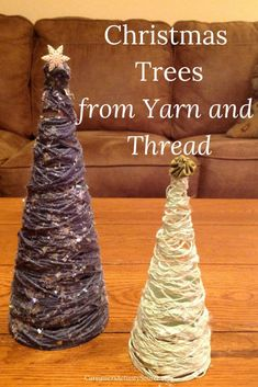 christmas tree crafts Christmas Trees From Yarn and Thread Christmas Tree Yarn, Rustic Christmas, Christmas Holidays, Christmas Ornaments, Primitive Christmas, Christmas Snowman, Vintage Christmas, Father Christmas, Homemade Christmas Tree
