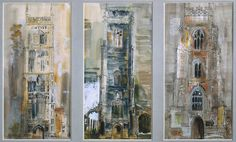John Piper  (1903‑1992) Three Suffolk Towers 1958 Ink, watercolour and gouache on paper