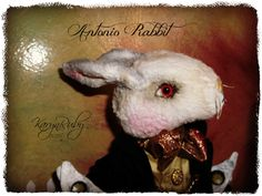 PDF EPattern to make 9.5 inch 'Antonio' Vintage Style Viscose or Mohair Rabbit by Artist KarynRuby - pinned by pin4etsy.com