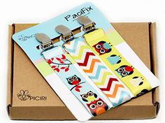 Pacifier Clip Set of 3 with Plastic Teeth - Adorable 2-Sided Stylish Colorful Owl Design - Durable Ribbon with 2 inch Loop - Best Binky Leash For Teething Ring, Teething Toys, Baby Blankets, Drool Bibs - The Universal Pacifier Holders are Compatible with All Types of Soothies - Perfect Baby Shower Gift in Package - $12.90