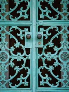 piece of decorative metal painted teal or made to look like patina. alamodeus: Aqua, turquoise or teal . I want these for my home on all my doors. Turquoise Door, Shades Of Turquoise, Shades Of Blue, Teal Door, Blue Doors, Turquoise Pattern, 50 Shades, Teal Blue, Color Celeste