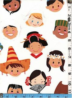 Fabric Alexander Henry Smiles Around the World Multicultural kids faces ethnic hats on white children global peace