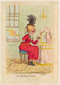 A caricature of Lady Archer who was a gambler, whose attempts to disguise her aging beauty and hold on to her youth made her a figure of social derision and mockery.