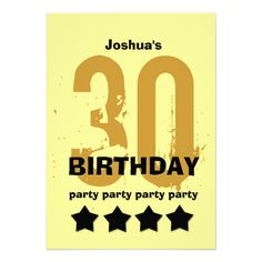 30th Birthday Party Weathered Grunge with Stars Invitations #birthday #jaclinart