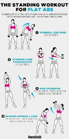 The standing workout for flat Abs: With beach season nigh, we've already begun toning our muscles and glutes. Here are 17 of the best fitness workouts to get your sweat on. Fitness Workouts, Fitness Abs, At Home Workouts, Health Fitness, Workout Routines, Women's Health, Health Tips, Ab Workouts With Weights, Workout Plans