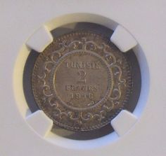 AH1334 / 1916A Tunisia 2 Francs NGC AU58 KM #239; Silver
