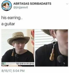 Did he just hook a guitar keychain up his earrings