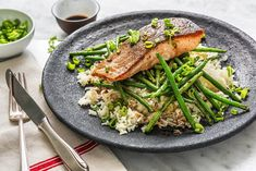 This super quick and easy teriyaki salmon recipe is bound to be a winner! Served with green beans and fluffy white rice, enjoy this delicious dinner tonight! Shrimp Recipes, Salmon Recipes, Ginger Green Beans, Popcorn Shrimp, Salmon And Rice, Teriyaki Salmon, Salmon Fillets, Fish And Seafood, Dinner Tonight