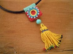 multicolored crochet tassel necklace leather cord