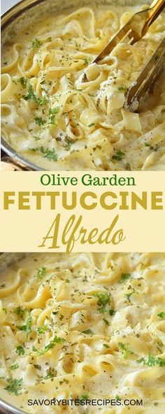 Creamy delicious Olive Garden Copycat Fettuccine Alfredo recipe is best to fix d. , Creamy delicious Olive Garden Copycat Fettuccine Alfredo recipe is best to fix dinner/lunch,made with alfredo sauce made with cream,butter,cream chees. Pastas Recipes, Chicken Recipes, Beef Recipes, Parmesan Recipes, Soup Recipes, Dessert Recipes, Pizza Recipes, Recipies, Parmesan Sauce