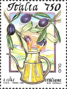 """1995 - """"Cibi italiani"""": L'olio -  oliera, due rami d'ulivo e, nello sfondo, un paesaggio collinare"""