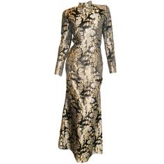 Pierre Balmain Asian inspired brocade ensemble/gown 1960's | From a collection of rare vintage evening dresses at http://www.1stdibs.com/fashion/clothing/evening-dresses/