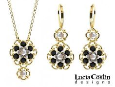Dainty Jewelry Set: Pendant and Earrings by Lucia Costin with 4 Petal Flowers and Dots, Garnished with Twisted Lines and White and Black Swarovski Crystals; 14K Yellow Gold over .925 Sterling Silver Lucia Costin. $118.00. Unique and feminine, perfect to wear for special occasions and evenings. Embellished with aurora borealis and black Swarovski crystals. Delicate floral design. Floral jewelry set by Lucia Costin. Produced delicately by hand, made in USA
