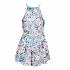 Playsuit with allover floral print. Cut out feature to back